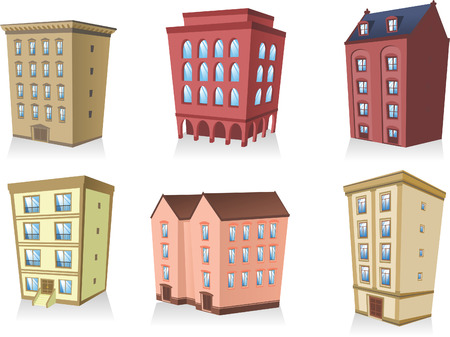 row houses: set 02, Building apartment house construction condo residence tower penthouse collection vector illustration.