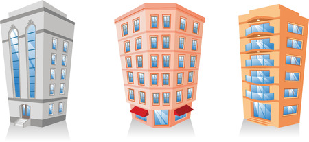 cartoon Apartment Building collection. Vector