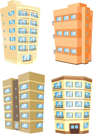 downtown district: cartoon Apartment Building collection.