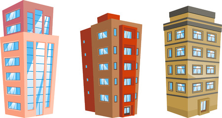 housing project: cartoon Apartment Building collection.