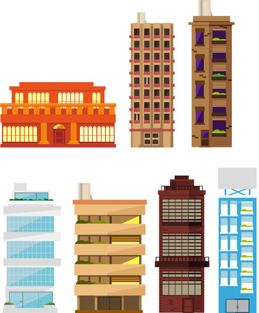 office building: Seven different buildings set vector illustration collection. Residential Building Apartment House Homes Construction Set 2