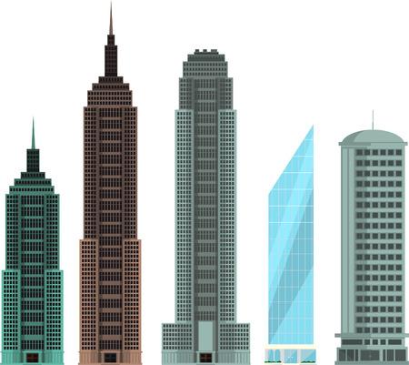 penthouse: Four different buildings set collection vector illustration.