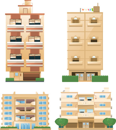 building feature: Building set of building architectural construction apartment houses set vector illustration collection.
