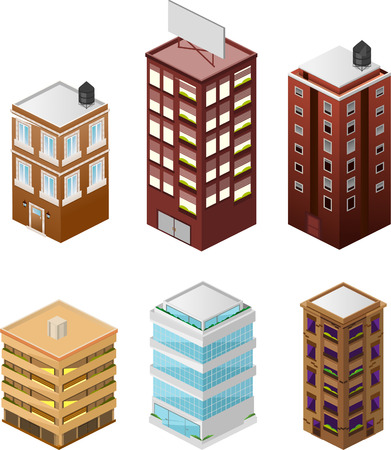 Building apartment house construction condo residence tower penthouse collection vector illustration. Illustration