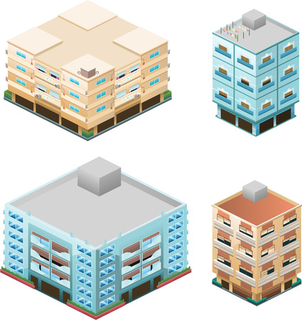 row houses: Building apartment house construction condo residence tower penthouse collection vector illustration cartoon. Illustration