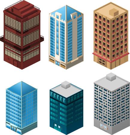 콘도: 건물의 아파트 주택 건설 콘도 거주 타워 펜트 하우스 컬렉션 벡터 일러스트 레이 션 만화.