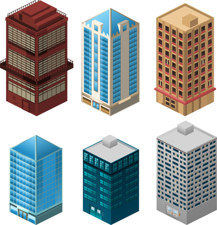 Building apartment house construction condo residence tower penthouse collection vector illustration cartoon. Illustration