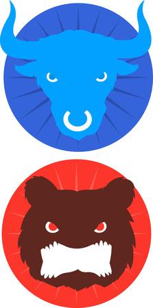 Blue Bull & red bear icons vector illustration.