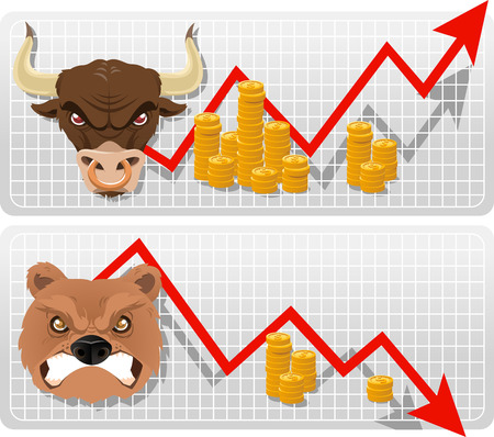Secular bull and bear analysis market chart vector illustration, with gold coins and red arrows. Ilustração