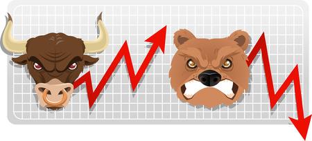 bull market: Secular bull and bear markets, both bull and bear faces with red arrow vector illustration. Illustration