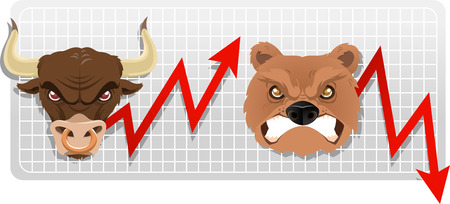 Secular bull and bear markets, both bull and bear faces with red arrow vector illustration. Illustration