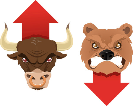 bull fight: Secular bull and bear trends icons, both with its analysis market arrow. Vector illustration.