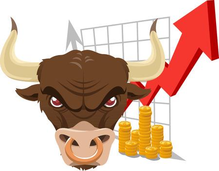 Bullish stier financiën economische analyse grafiek met zowel rode en grijze pijlen en vele gouden munten. Vector illustratie. Stock Illustratie