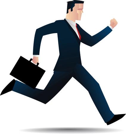success man: business man running. Illustration