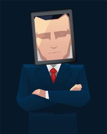 Businessman with tablet head vector illustration. Vector