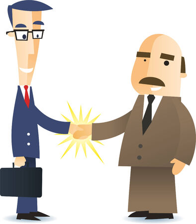 sales meeting: Two business men shaking hands closing a deal cartoon illustration Illustration