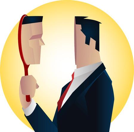 Empresario Elegancia traje formal con corbata roja y un espejo de reflexión ilustración vectorial.