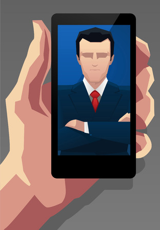 tailor shop: Businessman Application for Smartphone vector illustration.
