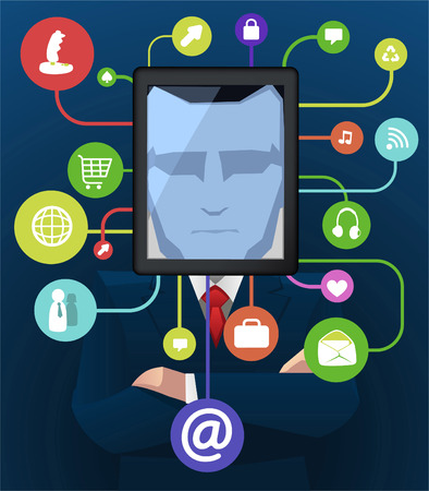 social grace: Businessman with social icon apps vector illustration.