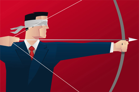 Businessman aiming blindfold with bow & arrow vector illustration.