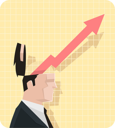 Businessman expectations, featuring a man in a business suit with open head and an arrow coming out. Vector