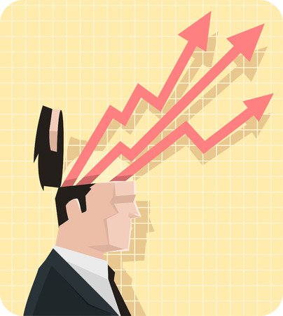 public address: Businessman projections as arrows from a chart coming out of his head.
