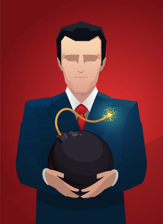 Businessman with a bomb between hands vector illustration.