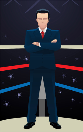 Businessman standing confident in Box ring vector illustration.