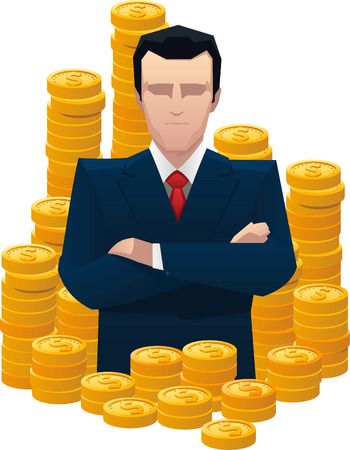 Businessman surrounded by golden coins vector illustration.