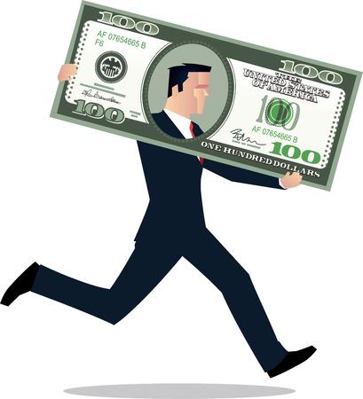 Businessman in dollar bill running vector illustration. Çizim
