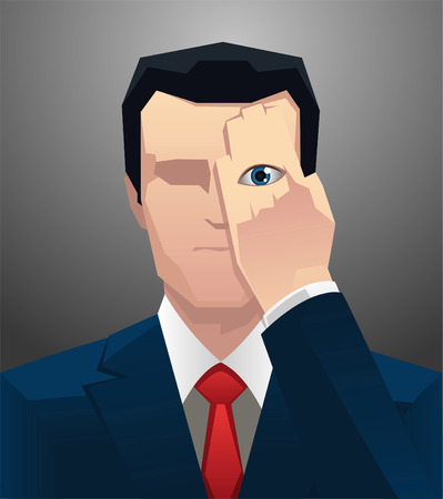hand covering eye: Businessman Eye still seeing, with hand covering eye. Vector illustration.