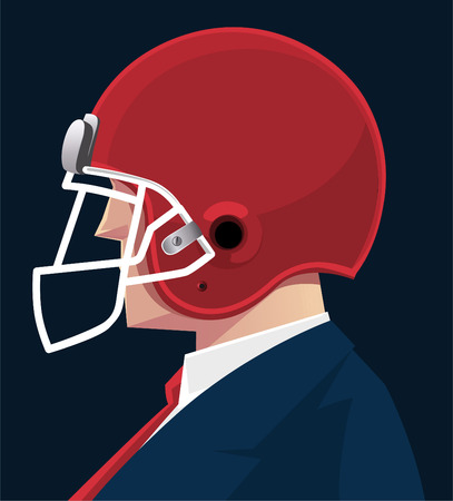 protective: Businessman protective helmet vector illustration.