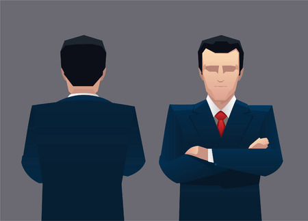 Businessman front view and back vector illustration. Vector