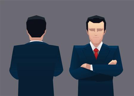 Vista frontal del hombre de negocios y la espalda ilustración vectorial. Ilustración de vector