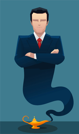 Businessman genie coming out of lamp vector illustration. Illustration