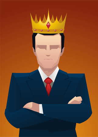 social grace: Businessman King with Golden Crown vector illustration.