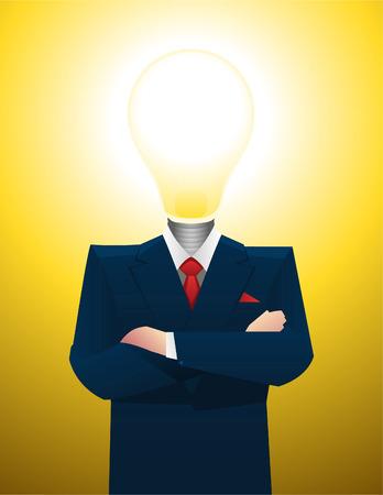 iluminados: Hombre de negocios con la inspiración bombilla gran idea, iluminado. Ilustración del vector.