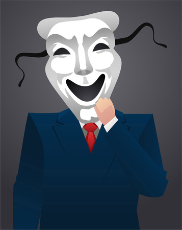 Businessman wearing a mask vector illustration.