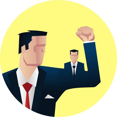 supporting: Businessman showing off his muscle vector illustration