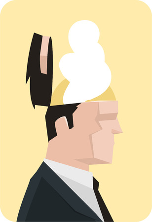 Businessman vector illustration with open mind.