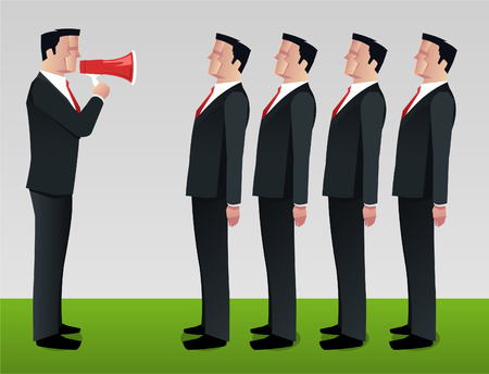 formalwear: Businessman shouting to employee megaphone vector illustration.
