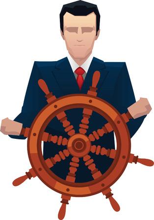 Businessman rudder helm tiller vector illustration. Çizim