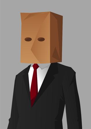 social grace: Businessman Shame Hiding Impostor vector illustration.