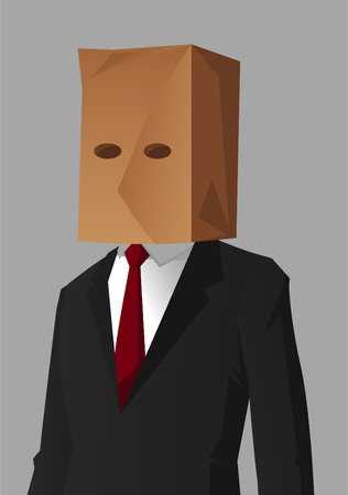Businessman Shame Hiding Impostor vector illustration.