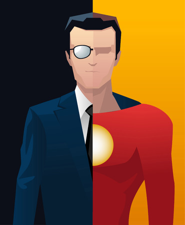 formalwear: Businessman business superhero hero vector illustration. Illustration