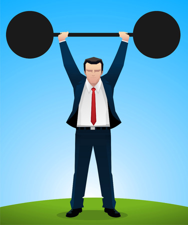 Businessman lifting weight vector illustration. Illustration