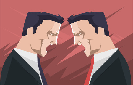 anger management: businessmen people shouting and screaming, with two men arguing at business meeting vector illustration. Illustration