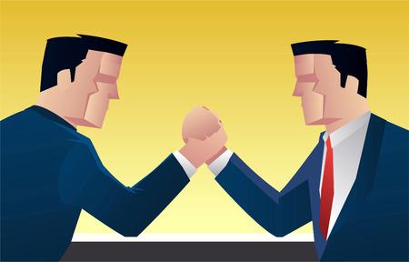 upper arm: Businessman wrestling vector illustration.
