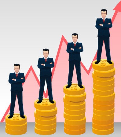 Businessman growing chart with golden coins and arrows vector illustration. Çizim