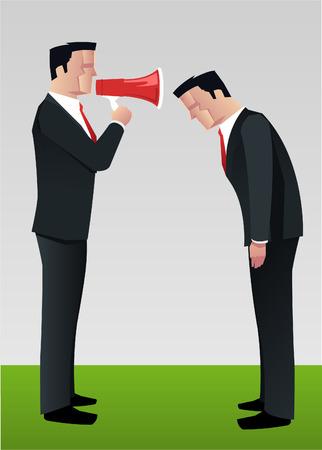 Businessman shouting to employee megaphone vector illustration.